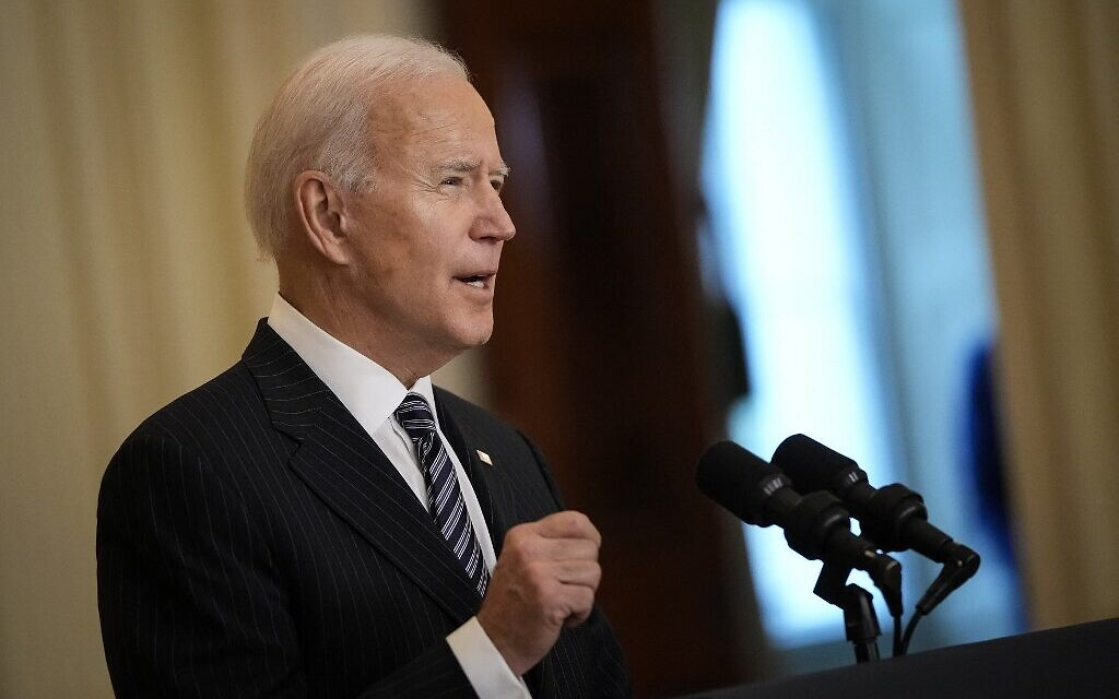 US President Joe Biden speaks in the East Room of the White House in Washington, DC, on March 18, 2021. (Drew Angerer/Getty Images/AFP)