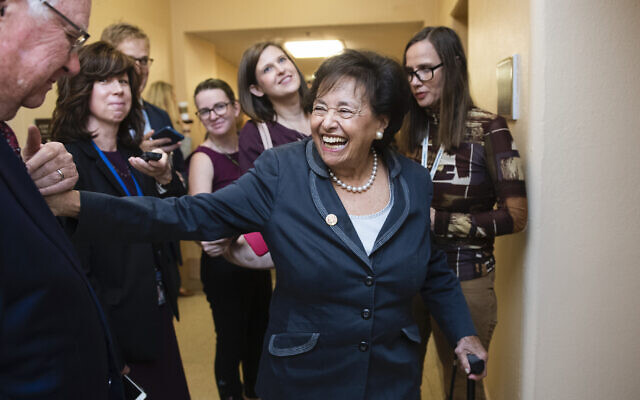 Then-Rep. Nita Lowey in the Capitol, October 16, 2019. (Tom Williams/CQ-Roll Call, Inc via Getty Images via JTA)