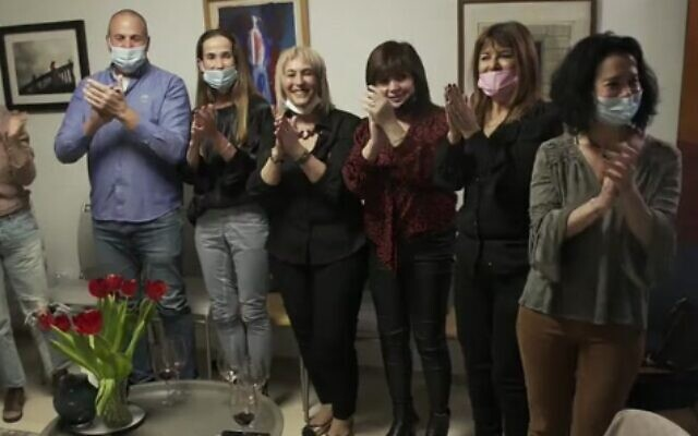 A theatrical event held at Prof. Idit Matot's home, as the worst of the COVID-19 pandemic appeared close to ending in Israel, March 2021. Matot is at far right. (Screenshot: Channel 12)
