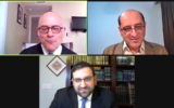 Arash Abaie, top right, a leader of the Tehran Jewish community, is interviewed via Zoom by Rabbi Jacob J. Schacter, a professor of Jewish history at Yeshiva University, top left, Feb. 28, 2021. Rabbi Yaakov Glasser, dean of the university's Center for the Jewish Future, which sponsored the program, is below. (Screen captute/JTA)