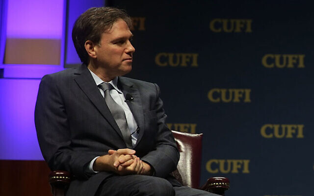 Bret Stephens at a Christians United for Israel summit in Washington on July 13, 2015. (Alex Wong/Getty Images via JTA)