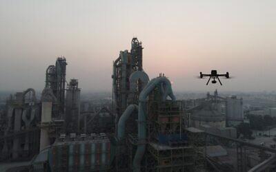 A drone flying near Nesher cement factory near Ramle, Israel (Airwayz Drones Ltd)