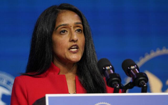 Associate Attorney General nominee Vanita Gupta speaks during an event with President-elect Joe Biden and Vice President-elect Kamala Harris at The Queen theater in Wilmington, Del., Thursday, Jan. 7, 2021. (AP Photo/Susan Walsh)