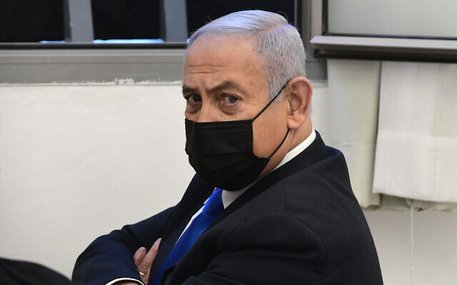 Prime Minister Benjamin Netanyahu prior to a hearing in his corruption trial at the Jerusalem District Court, Feb. 8, 2021. (AP Photo/Reuven Castro, Pool)