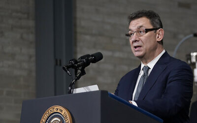 Pfizer CEO Albert Bourla speaks at a Pfizer manufacturing site, February 19, 2021, in Portage, Michigan. (AP Photo/Evan Vucci)