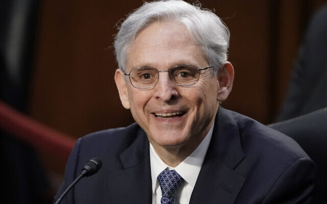 Judge Merrick Garland, US President Joe Biden's pick to be attorney general, appears before the Senate Judiciary Committee for his confirmation hearing, on Capitol Hill in Washington, February 22, 2021. (AP Photo/J. Scott Applewhite)