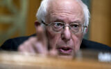 Sen. Bernie Sanders, I-Vt., Chairman of the Budget Committee, speaks during a US Senate Budget Committee hearing regarding wages at large corporations on Capitol Hill in Washington, Thursday, Feb. 25, 2021. (Stefani Reynolds/The New York Times via AP, Pool)