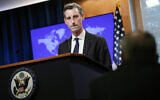 US State Department Spokesman Ned Price speaks to reporters during a news briefing at the State Department in Washington, on Monday, March 1, 2021. (Tom Brenner/Pool via AP)