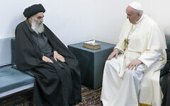 Pope Francis, right, meets with Iraq's leading Shiite cleric, Grand Ayatollah Ali al-Sistani in Najaf, Iraq, March 6, 2021 (AP Photo/Vatican Media)