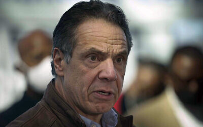 New York Governor Andrew Cuomo speaking at a vaccination site in New York, March 8, 2021. (AP Photo/Seth Wenig, Pool, File)