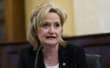 Republican Senator Cindy Hyde-Smith of Mississippi speaks during a Senate Agriculture, Nutrition, and Forestry Committee hearing on Capitol Hill in Washington, March 11, 2021, on climate change. (AP Photo/Susan Walsh)
