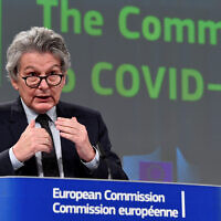 European Commissioner for Internal Market Thierry Breton speaks during a media conference on the Commissions response to COVID-19 at EU headquarters in Brussels, March 17, 2021. (John Thys, Pool via AP)
