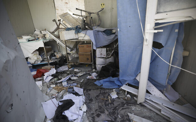 Damage from shelling is seen in hospital in Atareb, a town in rural western Aleppo, Syria, March 22, 2021. (AP Photo/ Ghaith Alsayed)