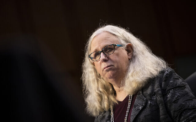 Rachel Levine, nominated to be an assistant secretary at the US Department of Health and Human Services, testifies before the Senate Health, Education, Labor, and Pensions committee on Capitol Hill in Washington, February 25, 2021. (Caroline Brehman/Pool via AP, File)