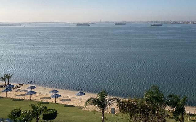 Ships anchor in Lake Timsah, Ismailia, halfway through Egypt's Suez canal on March 25, 2021. (Associated Press/ Sam Magdy)