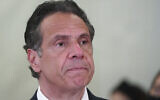 New York Governor Andrew Cuomo speaks at an event at the new Settlement Community Center in the Bronx borough of New York, March 26, 2021. (Carlo Allegri/Pool Photo via AP)