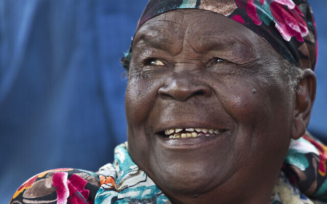In this November 6, 2012, file photo, Sarah Obama, step-grandmother to then US President Barack Obama, speaks to the media in the garden of her home in the village of Kogelo, western Kenya. (AP Photo/Ben Curtis, File)