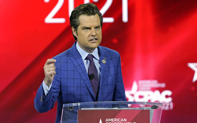 US Rep. Matt Gaetz speaks at the Conservative Political Action Conference (CPAC) in Orlando, Florida, February 26, 2021. (AP Photo/John Raoux, File)