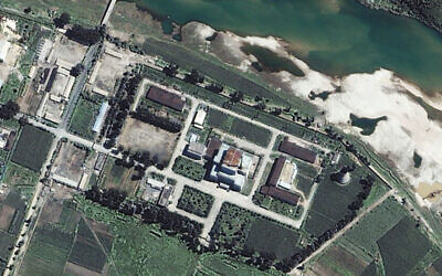 The Yongbyon Nuclear Center, located north of Pyongyang, North Korea, August 13, 2002. (Space Imaging Asia/AP)