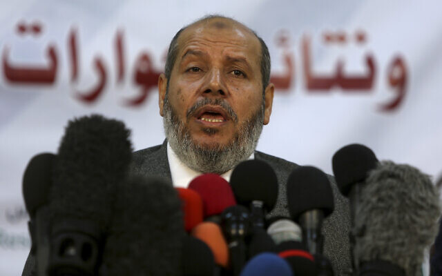 Khalil al-Hayya, a senior Hamas official, speaks during a press conference in Gaza City, November 27, 2017. (Adel Hana/AP)