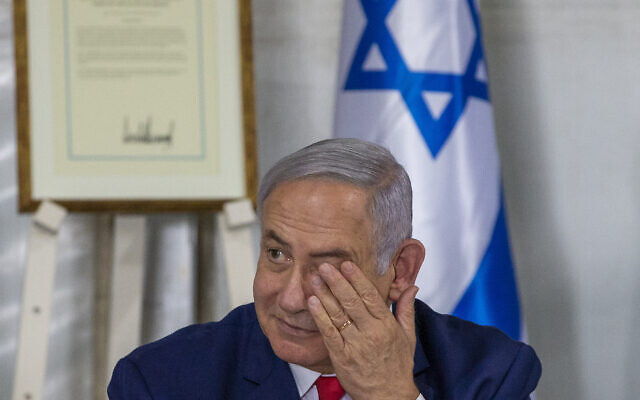 Prime Minister Benjamin Netanyahu convenes his cabinet to inaugurate a new town named after then-US president Donald Trump in a gesture of appreciation for the US leader's recognition of Israeli sovereignty over the Golan Heights on June 16, 2019. (AP Photo/Ariel Schalit)