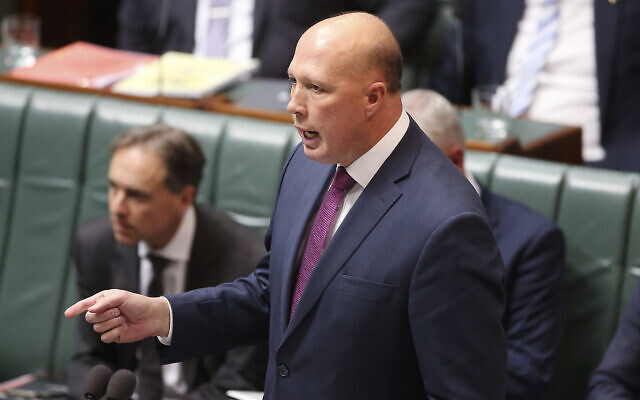 Australia's Home Affairs Minister Peter Dutton addresses Parliament House in Canberra, July 24, 2019. (Rod McGuirk/AP)