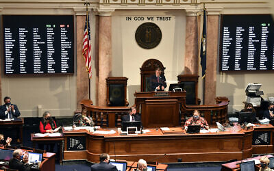 Illustrative -- The opening day session of the Kentucky State Legislature in Frankfort, Jan. 5, 2021. (AP Photo/Timothy D. Easley)
