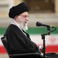 Iranian supreme leader Ayatollah Ali Khamenei speaks during a meeting with Iran's army's air force and air defense staff in Tehran, Iran, February 7, 2021. (Office of the Iranian Supreme Leader via AP)