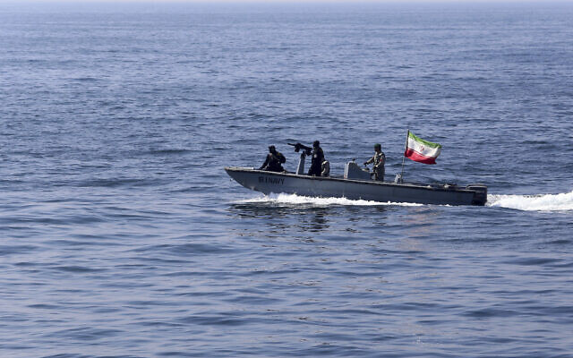 Illustrative -- In this photo released Feb. 17, 2021, by the Iranian army, an Iranian naval vessel flying an Iranian flag participates in a joint naval exercise of the Russian navy, the Iranian navy and the Iranian Revolutionary Guard's navy in the Indian Ocean. (Iranian Army via AP)