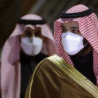 Saudi Crown Prince Mohammed bin Salman arrives to attend the Saudi Cup award ceremony at King Abdul Aziz race track in Riyadh, Saudi Arabia, February 20, 2021.  (Amr Nabil/AP)