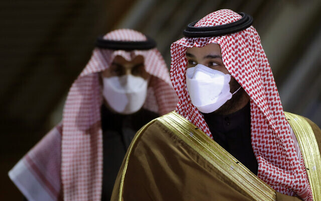 Saudi Crown Prince Mohammed bin Salman arrives to attend the Saudi Cup award ceremony at King Abdul Aziz race track in Riyadh, Saudi Arabia, February 20, 2021.  (Amr Nabil/AP)
