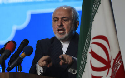 Iran's Foreign Minister Mohammad Javad Zarif addresses a conference in Tehran, Iran, February 23, 2021.  (Vahid Salemi/AP)