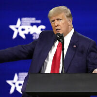 Former president Donald Trump speaks at the Conservative Political Action Conference (CPAC) Sunday, Feb. 28, 2021, in Orlando, Fla. (AP Photo/John Raoux)
