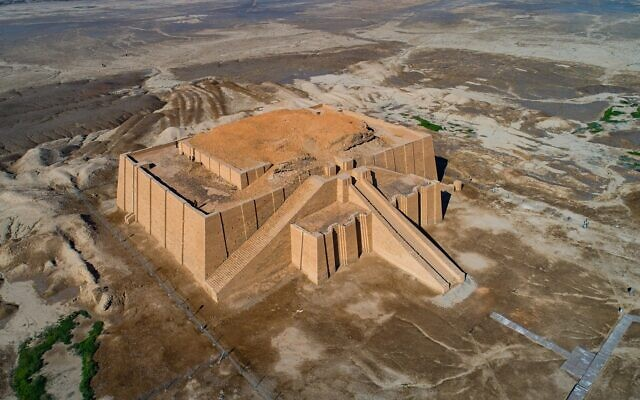 An aerial photo shows archeological site of the 6,000-year-old archaeological site of Ur during the preparations for Pope Francis' visit near Nasiriyah, Iraq, Saturday, March 6, 2021 (AP Photo/Nabil al-Jourani)
