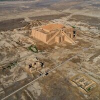 An aerial photo shows the archaeological site of Ur amid preparations for Pope Francis's visit near Nasiriyah, Iraq, Saturday, March 6, 2021 (AP Photo/Nabil al-Jourani)