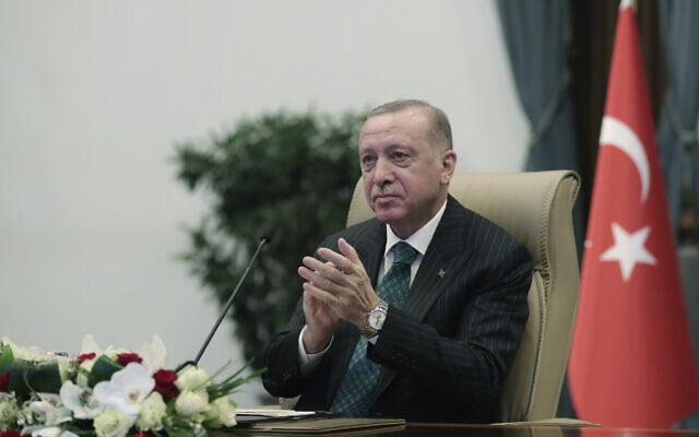 Turkey's President Recep Tayyip Erdogan in Ankara, Turkey, Wednesday, March 10, 2021 (Turkish Presidency via AP, Pool)