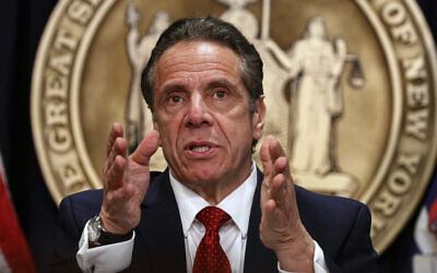 New York Gov. Andrew Cuomo speaks during a news conference at his office, March 24, 2021, in New York. (Brendan McDermid/Pool Photo via AP)