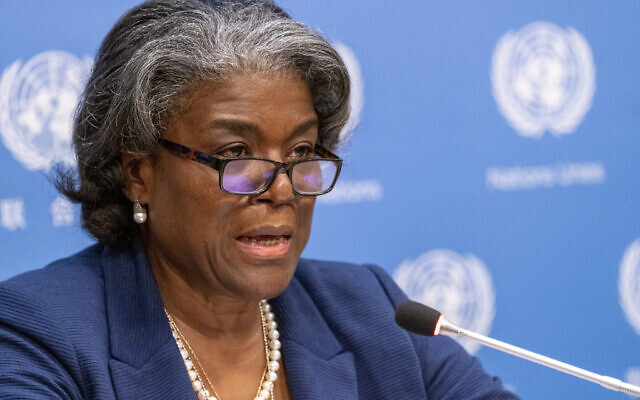 US Ambassador to the United Nations Linda Thomas-Greenfield speaks to reporters during a news conference at United Nations headquarters, March 1, 2021. (Mary Altaffer/AP)