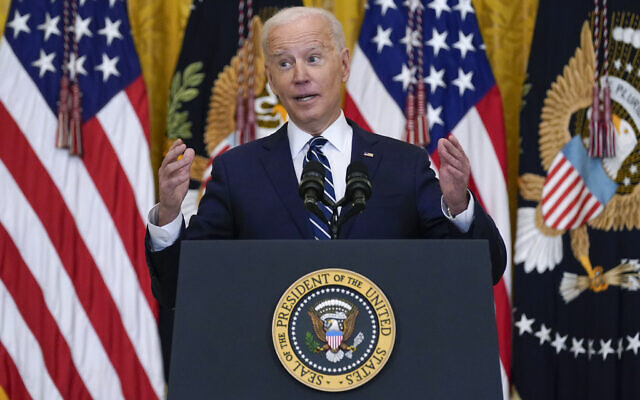 US President Joe Biden speaks during a news conference in the East Room of the White House, Thursday, March 25, 2021, in Washington. (AP Photo/Evan Vucci)