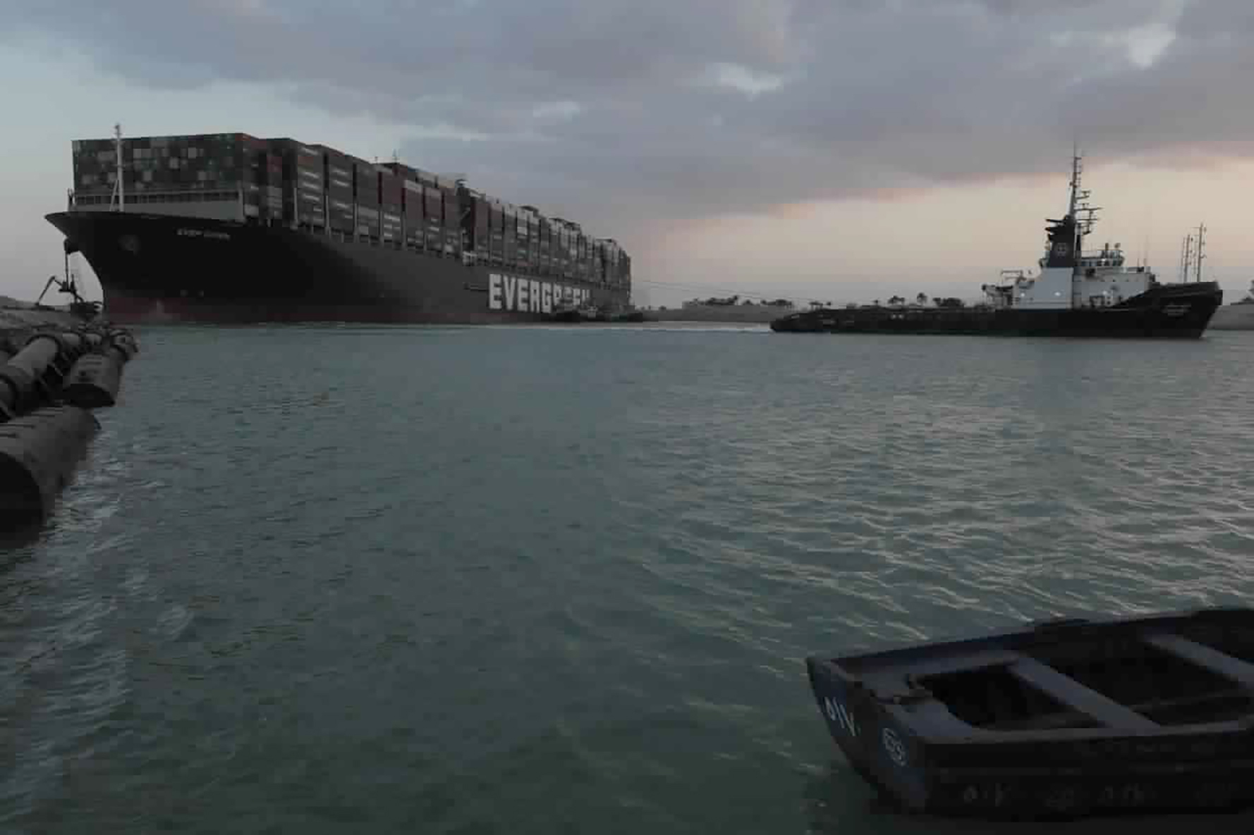 Suez Canal: Huge Ever Given container ship is 'partially refloated'