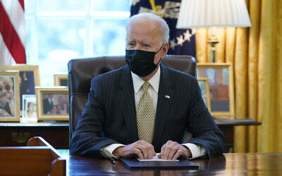 US President Joe Biden in the Oval Office of the White House, in Washington, March 30, 2021. (Evan Vucci/AP)