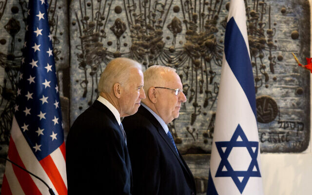 US Vice President Joe Biden, left, walks with Israel's President Reuven Rivlin at the President's Residence in Jerusalem, March 9, 2016. (AP Photo/Sebastian Scheiner)