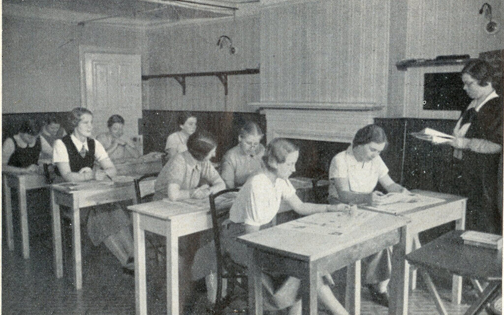 Photo of students reading newspapers at Augusta Victoria College, Bexhill-on-Sea, included in c. 1935 prospectus. (Bexhill Museum)