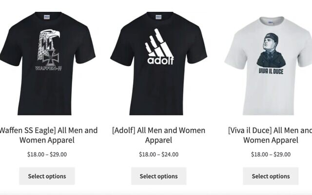 T-shirts bearing Nazi motifs being sold online by a Bay Area resident. (Screenshot via JTA)