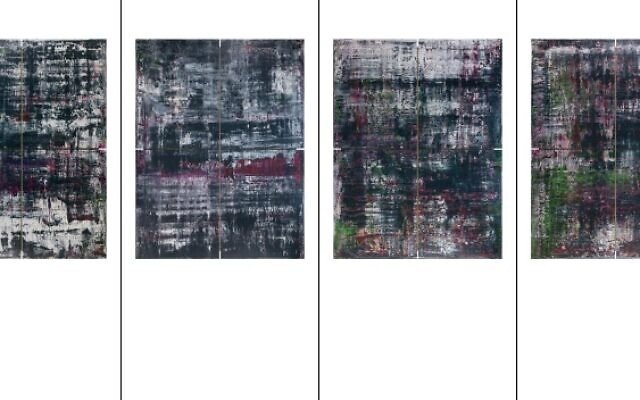 The four-part Birkenau series by German artist Gerhard Richter is based on photographs taken in 1944 and smuggled out of the Aushwitz-Birkenau camp.  (Screenshot from a flyer on Richter's work written by the German Bundestag)