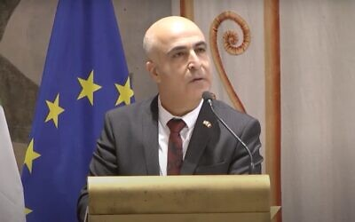 Screen capture from video of Israel's Ambassador to Italy and San Marino, Dror Eydar. (YouTube)