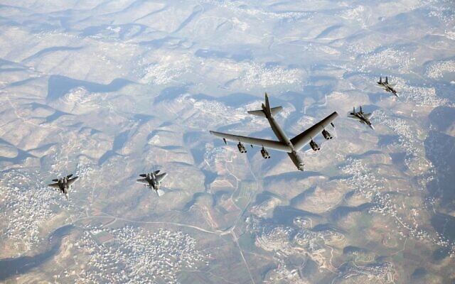 Israeli F-15 fighter jets escort an American B-52 bomber through Israeli airspace on March 7, 2021. (Israel Defense Forces)