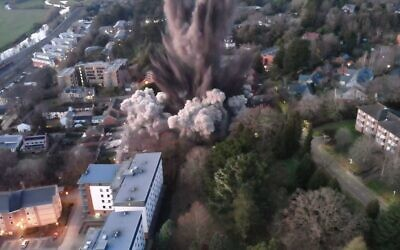 Controlled detonation of a WWII bomb in Exeter, England on February 28, 2021 (Screenshot: Drone Team/Twitter)