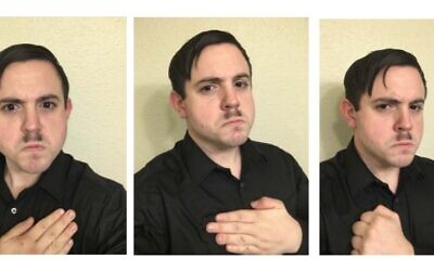 Images recovered from the cellphone of Timothy Hale-Cusanelli and included in a criminal complaint filed by the US Department of Justice show Hale-Cusanelli with a 'Hitler mustache'  (Department of Justice)