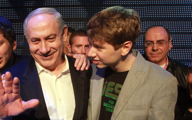 Prime Minister Binyamin Netanyahu and his son Yair at a pre-election event in Tel Aviv on January 6, 2013. Yossi Zamir/Flash 90)